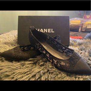 Chanel black lace flats